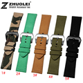 24mm MEN'S camouflage WATCHBAND Fabric + Genuine leather with stainless steel buckle Watchband for PAM111 watch strap