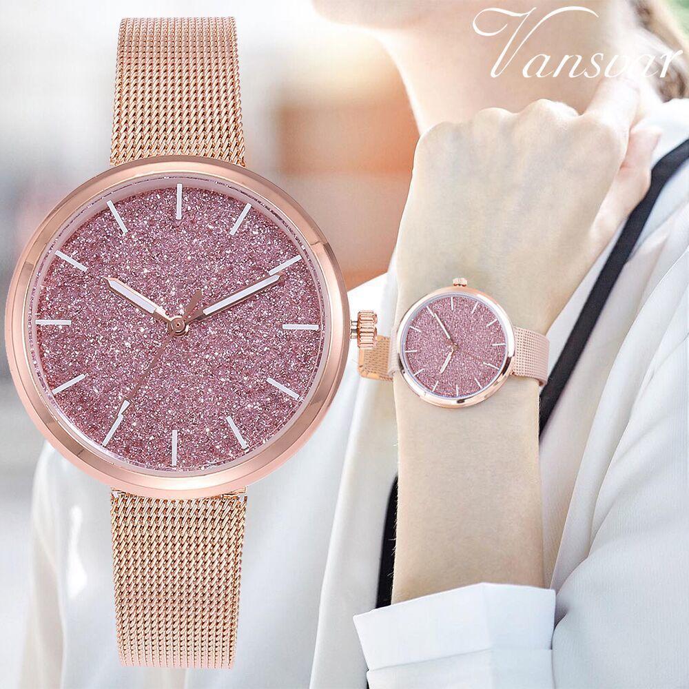 Fashion Starry Sky Women Wrist Watch Casual Rose Gold Steel Mesh Belt Rhinestone Quartz Watch Relogio Feminino Drop Shipping