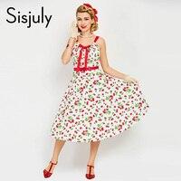 Sisjuly Vintage 1950s Dress White Floral Print Retro Cherry Summer Rockabilly Spaghetti Strap Party Elegant Vintage