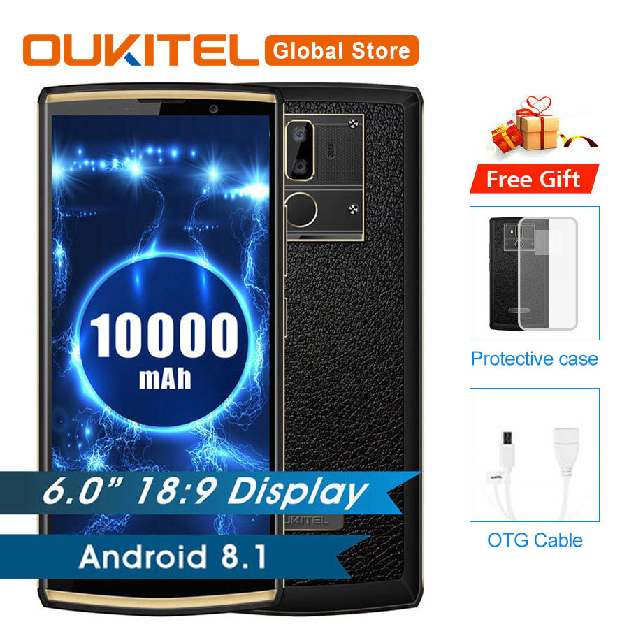 "OUKITEL K7 Power 18:9 Full Display 6.0""FHD 2GB RAM 16GB ROM MT6750T Octa Core 13MP+5MP 10000mAh 9V/2A Fingerprint Mobile Phone"