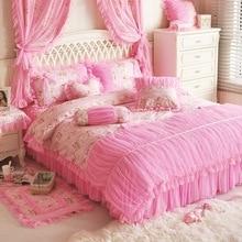 Korean Floral Princess Lace housse de couette Pastoral Bedding Set 4 Pcs Duvet Cover Set Cotton Home Textile Bed skirt Set pink
