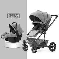 Роскошная детская коляска 3 в 1 с высоким видом, четыре колеса, портативная коляска для бега, детская коляска для новорожденных, удобная детс