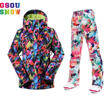 Gsou Snow Women Ski jackets Pants -30 Degree Ladies Snowboard Suits Breathable Waterproof Windproof Outdoor Colorful Skiing Sets