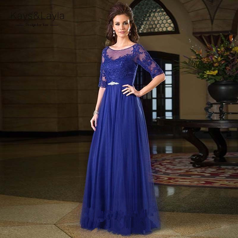 Royal-Blue-Elegant-Mother-of-the-Bride-Dresses-with-4Sleeves-2016-Lace-Groom-Mother-of-the