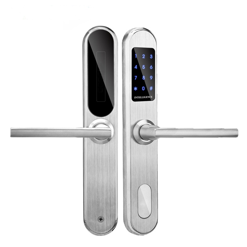 Electronic RFID Card Door Lock with Key Electric Lock For Home Hotel Apartment Office Latch with Deadbolt lk510BS access control lock metal mute electric lock rfid security door lock em lock with rfid key card reader for apartment hot sale