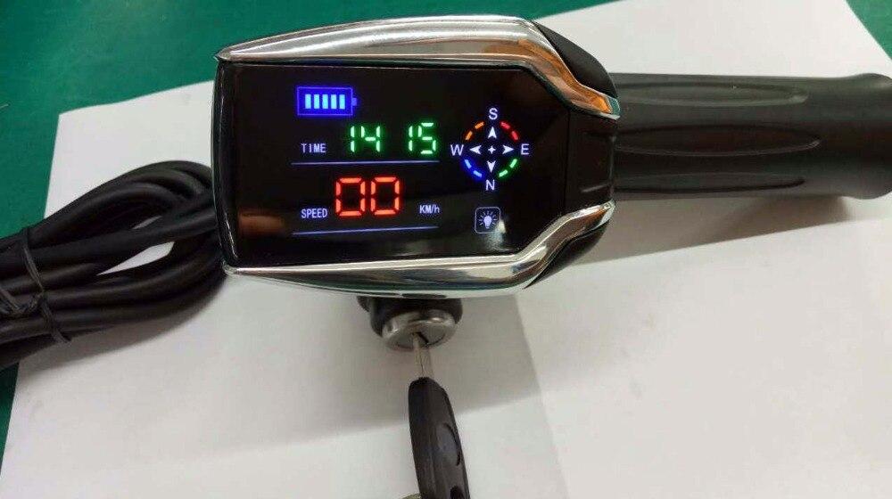 Цена за 24 В 72 В твист дроссельной с дисплеем и GPS функции прокатки ручки ускоритель с замком и ключ газа ручка для электрический скутер, велосипед