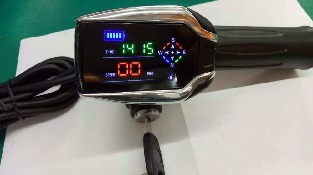 24v-72v twist throttle with display & GPS function rolling grips accelerator with lock&key gas handle for electric bike scooter