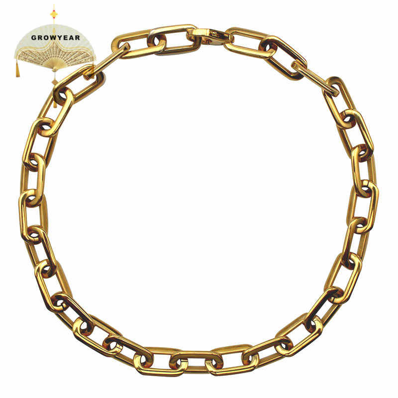 Thick Flat Rounded Rectangle Gold-color Link Chain Necklace Men Women Stainless Steel Fashion Jewelry 1 Piece