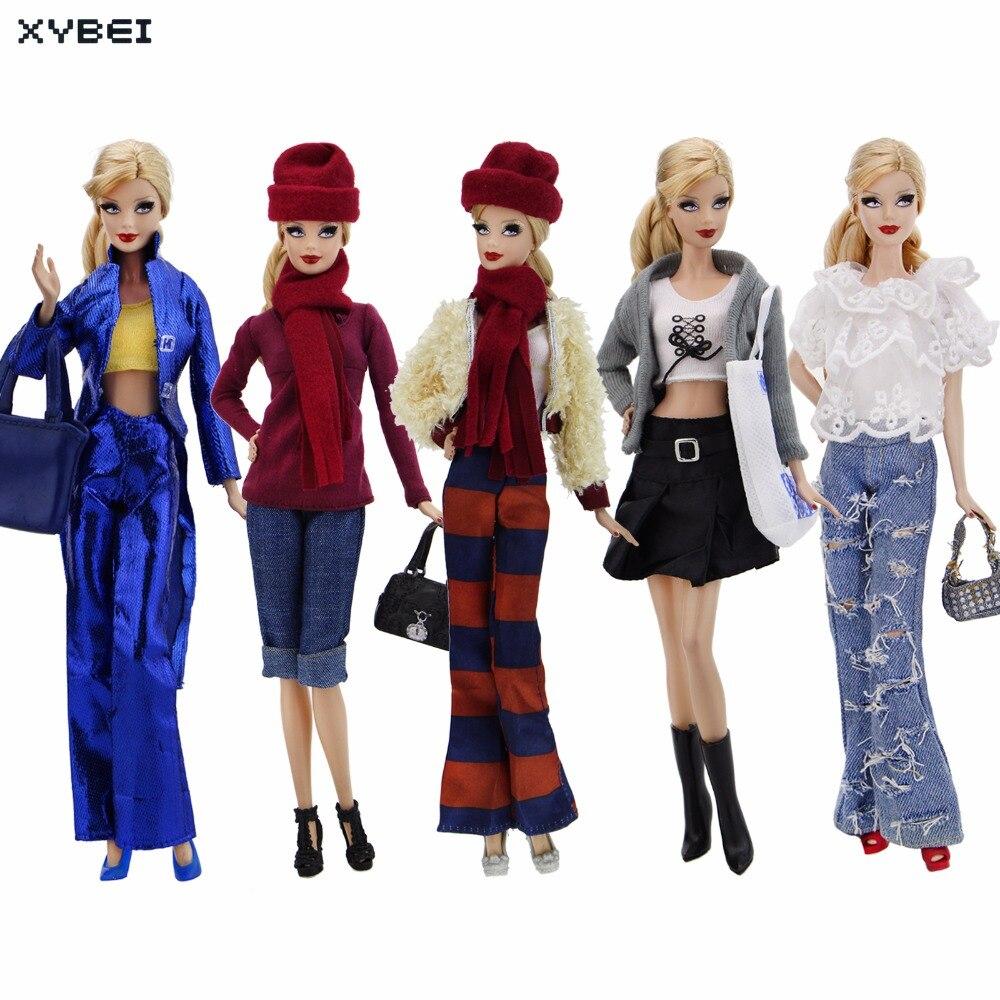 Ручной наряд ежедневно повседневная одежда смешанные Стиль костюм, сумочка Обувь Одежда для куклы Барби кукольный домик Интимные аксессуа...