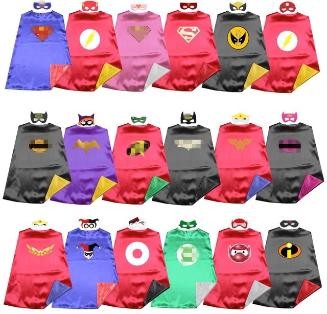Satin 2layer Super rod Justice League superhero kids cape+mask Halloween costume Birthday party favors Dress up Easy costums