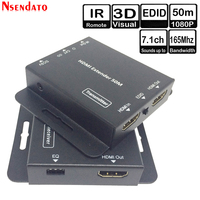 50m 164FT HDMI Transmitter Receiver Transceiver over Cat 5e 6 IR EDID LAN Ethernet HDMI Extender for HDTV Monitor DVD Player