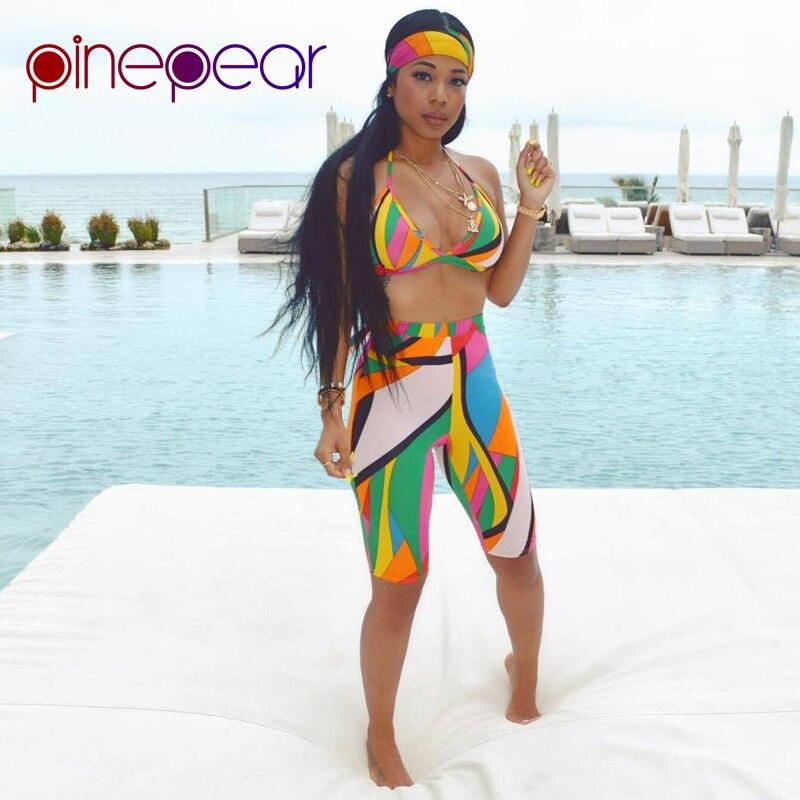 ce92a13dbd Detail Feedback Questions about PinePear 2019 Summer Women Colourful Print Beach  Bathing Suits Scarf+Bra+Shorts 3 Three Piece Set Sexy High Waist Beachwear  ...