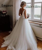 Vestido de Noiva A Line Wedding Dress 2019 Elegant V Back Sleeveless Bride Dress Wedding Gown Trouwjurk Robe De Mariee
