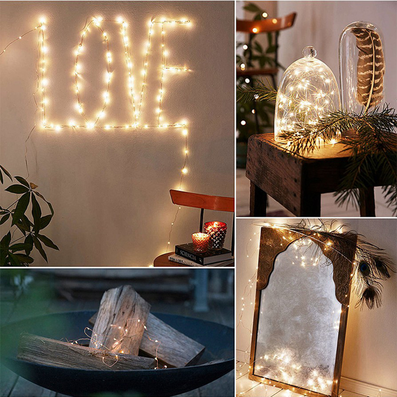 LED 2M Copper String Lamp Starry Beads DIY Fairy Lights 20 Leds Silver Cord Warm White Waterproof Wedding Party Home Decoration66