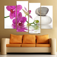 4 Panel Canvas Painting Canvas Art Spa Zen Orchids Stones HD Printed Wall Art Home Decor