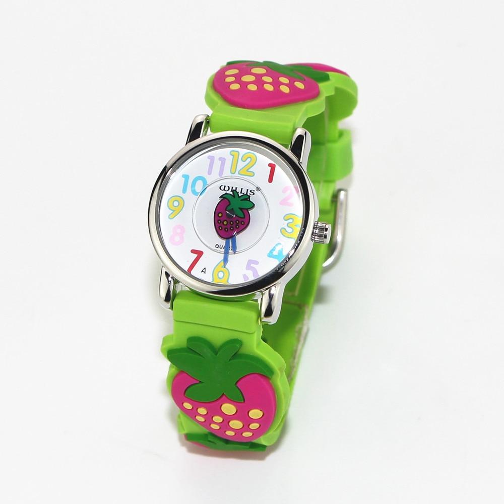 New Strawberry Pattern Design 3D Green Band Little Girl Children Students Boy Women Wrist Watch Waterproof Clock Reloj