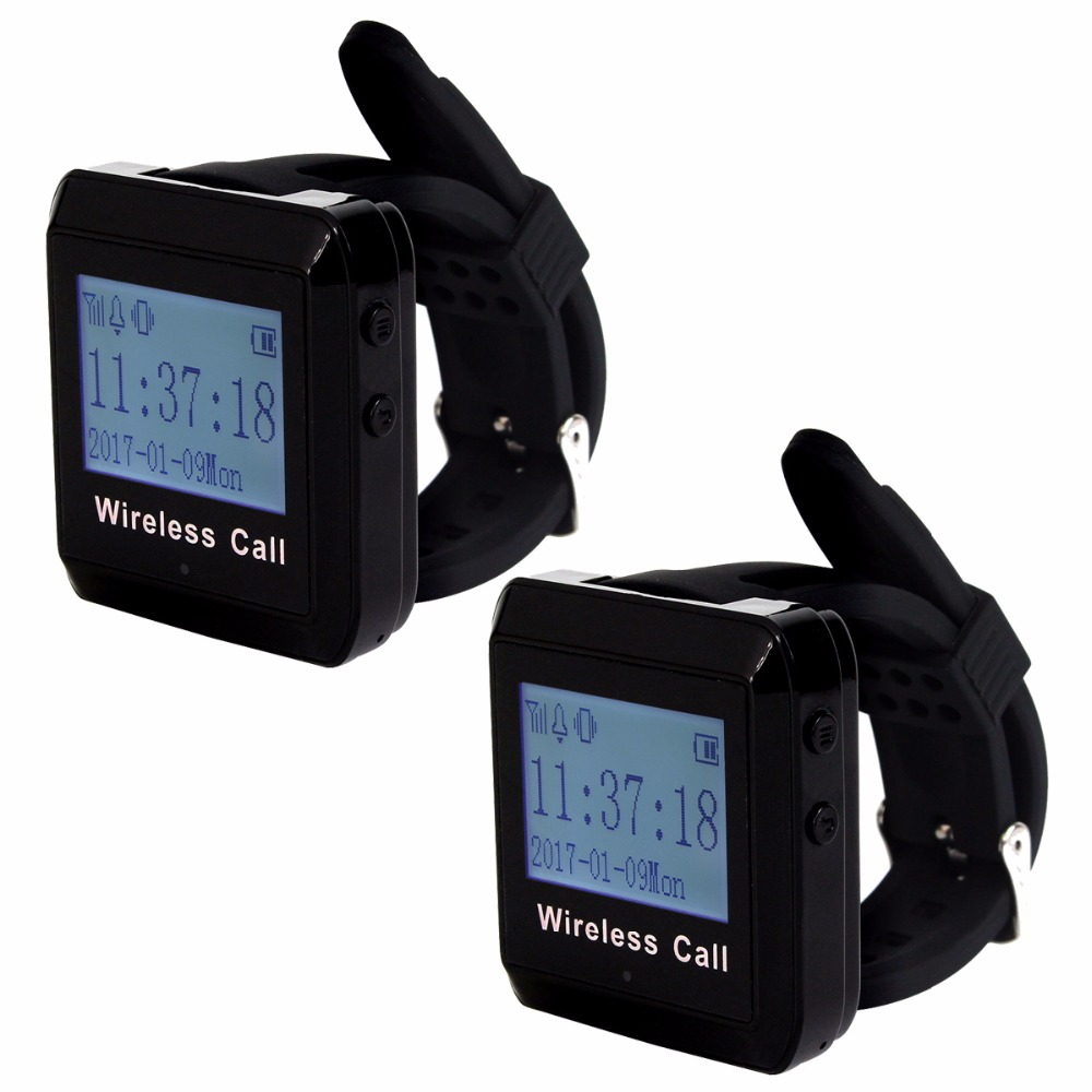 2Pcs 433MHz Wireless Calling Paging System Watch Receiver Host Guest Waiting Pager for Office Bank Factory F3258A 433mhz restaurant pager wireless calling paging system watch wrist receiver host 10pcs call transmitter button pager f3255c