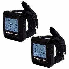 2 шт. 433 мГц Беспроводной Вызов подкачки Системы часы хоста получателя ожиданием пейджер для офиса банка фабрики F3258A