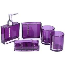 5 pz/set Accessori Da Bagno In Acrilico Vasca Da Bagno Tazza Bottiglia Spazzolino Da Denti Supporto di Sapone Piatto viola