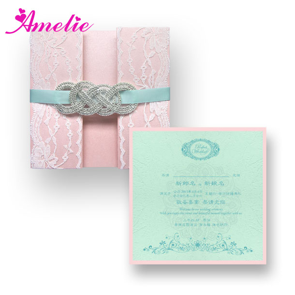 50piecelot with dhlfedex customized wedding invitation expensive wedding cards blue ribbon white - Expensive Wedding Invitations