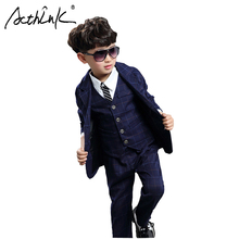 ActhInk 2019 High Quality Boys 3Pcs Plaid Tuxedos Teen Grid Formal Suit Children Spring Wedding Ceremony Clothing