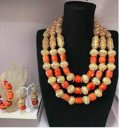 2018 Dubai or déclaration collier ensemble charmes 3 couches femmes corail perles africaines bijoux ensemble réel perles de corail pour les mariées ABH762 - 6