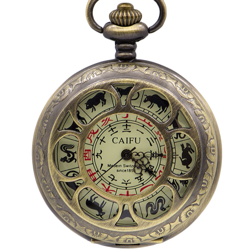 Retro Bronze 12 Zodiac Hollow Copper Compass Mechanical Pocket Watch Fashion Men Women  PJX1394