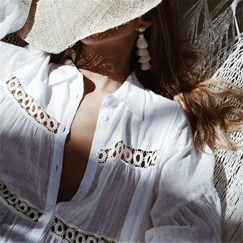 Women Swimsuit Cover Ups Mandarin Sleeve Kaftan Beach Tunic Dress Robe De Plage Solid White Cotton Pareo Beach Cover Up #Q429 1