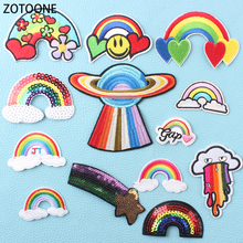 ZOTOONE Wild Rainbow Iron on Patches for Clothing Diy Heart Accessories Decorations Sewing Clothes Colorful Badge Application