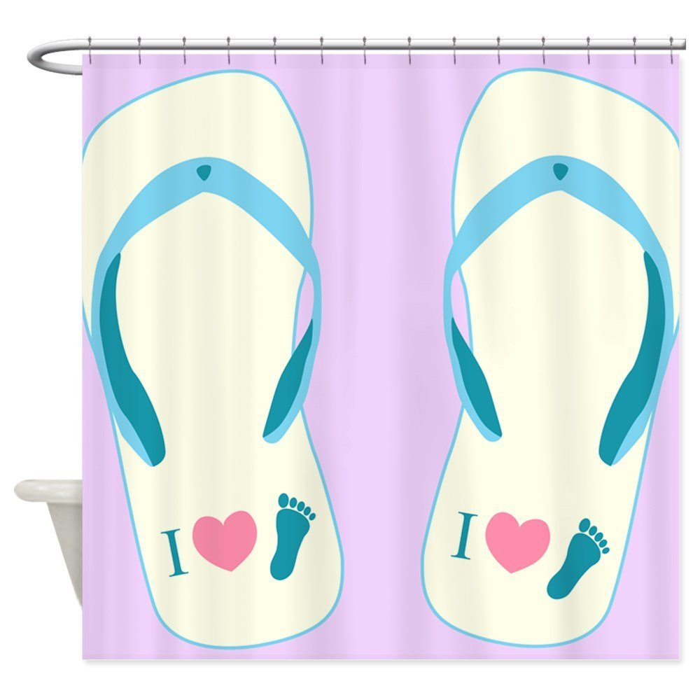 Warm Tour Flip Flops Shower Curtain Fabric Polyester Waterproof Bathroom  Curtains(China (Mainland)