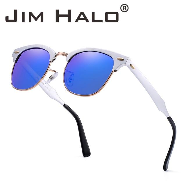 add312d88879 Jim Halo Semi Rimless Polarized Sunglasses Retro Aluminum Metal Sun Glasses  Women Men Eyeglasses