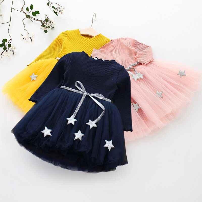 Bonito da criança crianças vestidos de manga longa para meninas outono flor apliques vestido princesa festa de inverno tutu vestido crianças roupas