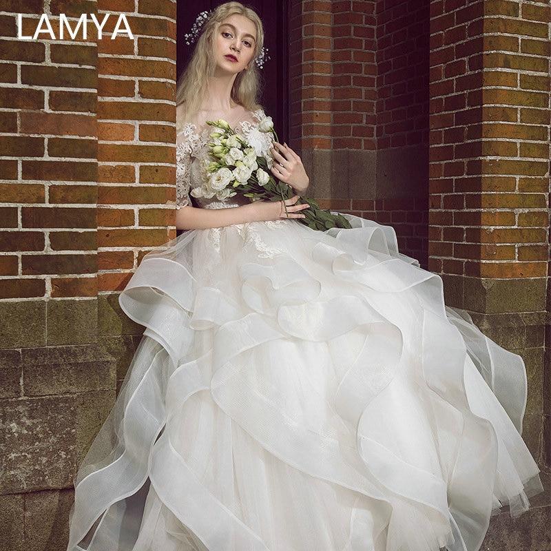 LAMYA Vintage Sweetheart Wedding Dress Half Lace Sleeve Bridal Gown Elegant Robe De Mariee Tiered Customized Vestido De Noiva