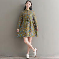 Spring Cotton And Linen Floral Women Print Dresses Full Sleeve Elegant Retro Ethnic Style Vestidos Mujer Casual Dreses Woman