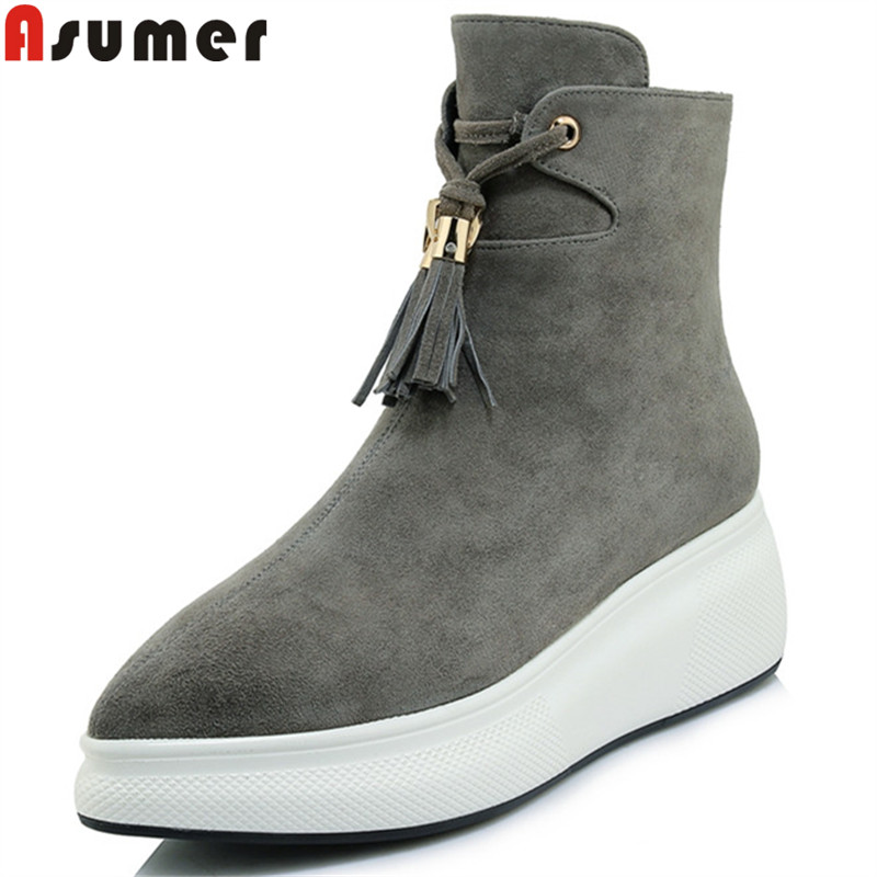 ASUMER 2018 fashion ankle boots for women pointed toe zip suede leather boots flat platform autumn winter boots ladides shoes asumer black fashion 2018 autumn winter boots women round toe zip mixed colors ankle boots flat with suede leather boots