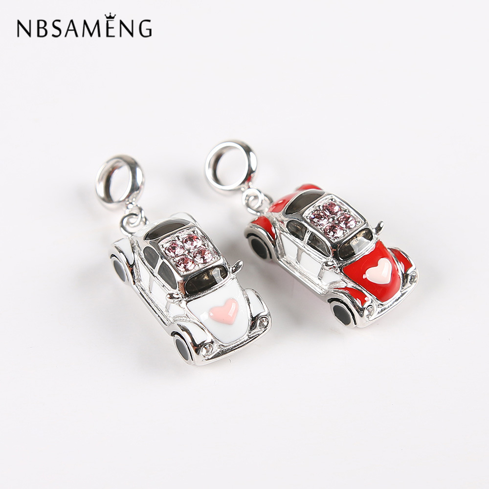 New 100% 925 Sterling Silver Bead Charm Wedding Car Heart Pave CZ Pendant Enamel Charms Fit Pandora Bracelets DIY Women Jewelry 2015 new spring 925 sterling silver pumpkin charm with gold and cz bead fits pandora bracelets in stock 1pc lot b520