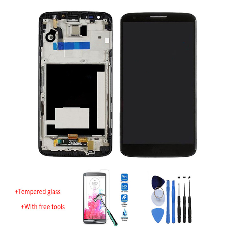 OEM LCD Display Touch Screen Digitizer Assembly+Bezel Frame For LG G2 D800 D801 D803 Black +tracking No