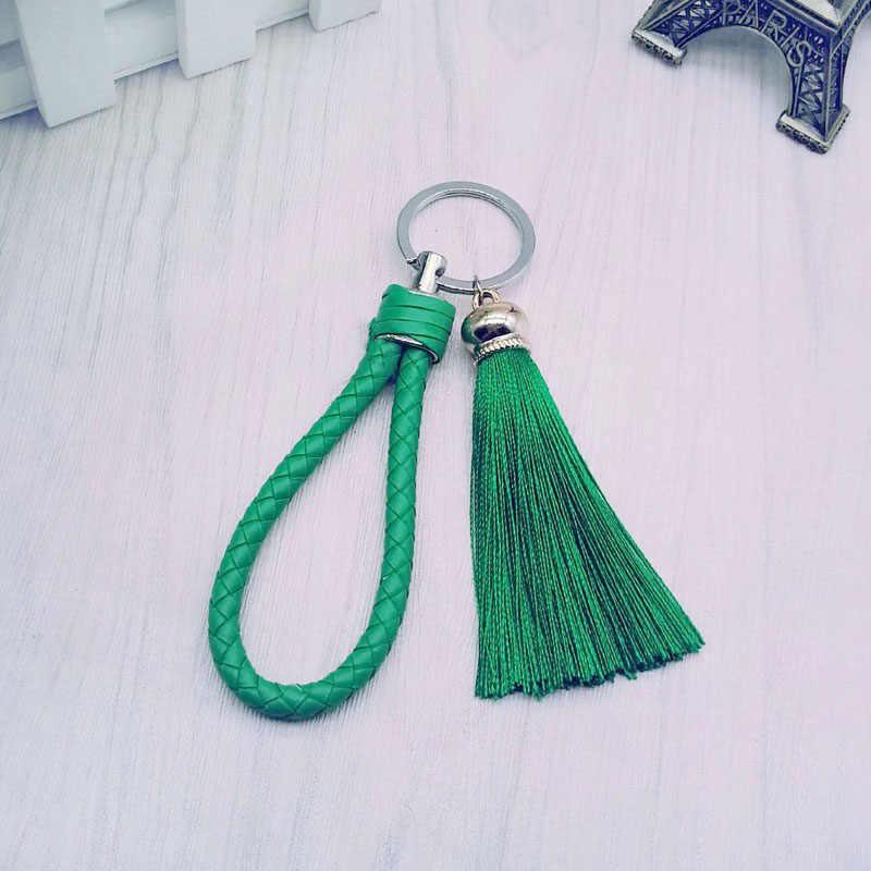 New Tassel mulheres Borla saco Chaveiro anel Chave Do Carro Da Corrente Chave-franja e PU tecido Chaveiros Borlas acessório jóias #16018