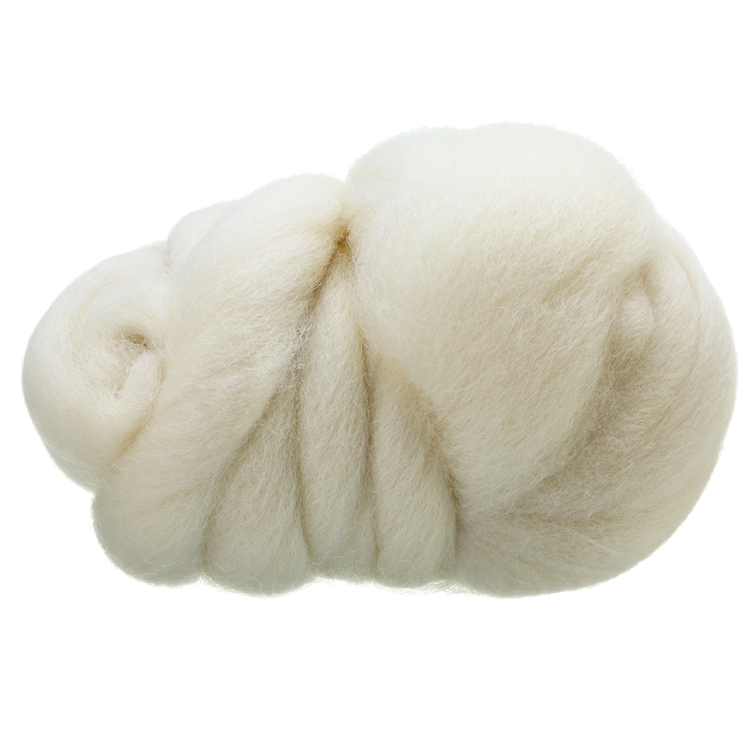 SOFT WHITE MERINO Dyed wool tops roving  needle felting wool  fibre 50g