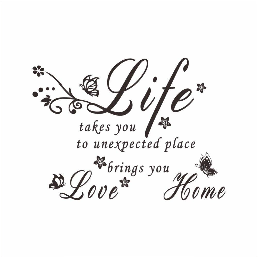 nieuwe mode vlinder bloem wijnstok engels spreuken muurstickers letters liefde de leven u live. Black Bedroom Furniture Sets. Home Design Ideas