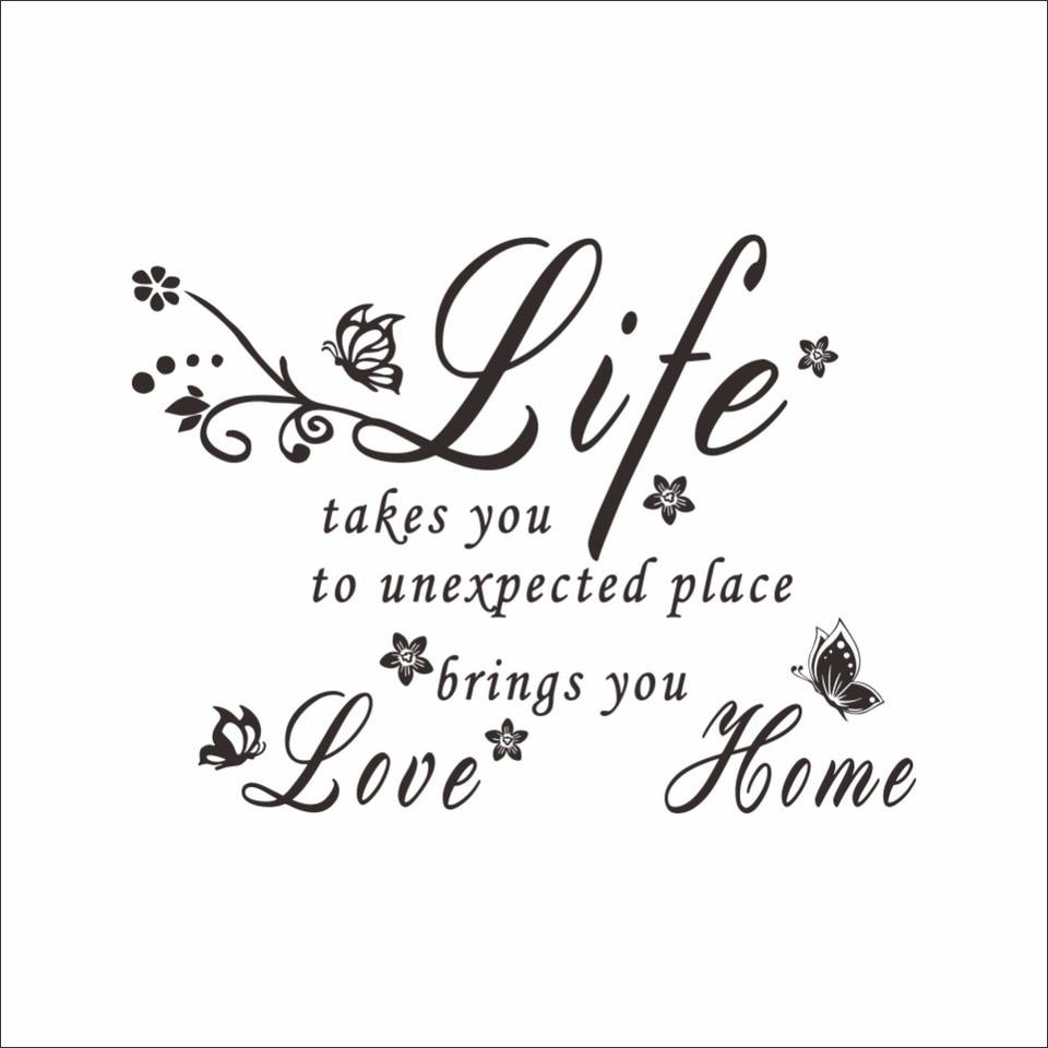 Nouveau Mode Papillon Fleur De Vigne Anglais Proverbes Stickers Muraux Lettres Amour La Vie Que Vous Vivez Decoration Murale Pour Salon Aliexpress