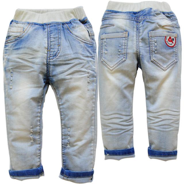3754 upscale CRIANÇAS bebê calças de brim menino calça casual calças primavera outono VESTUÁRIO infantil denim macio azul sólida