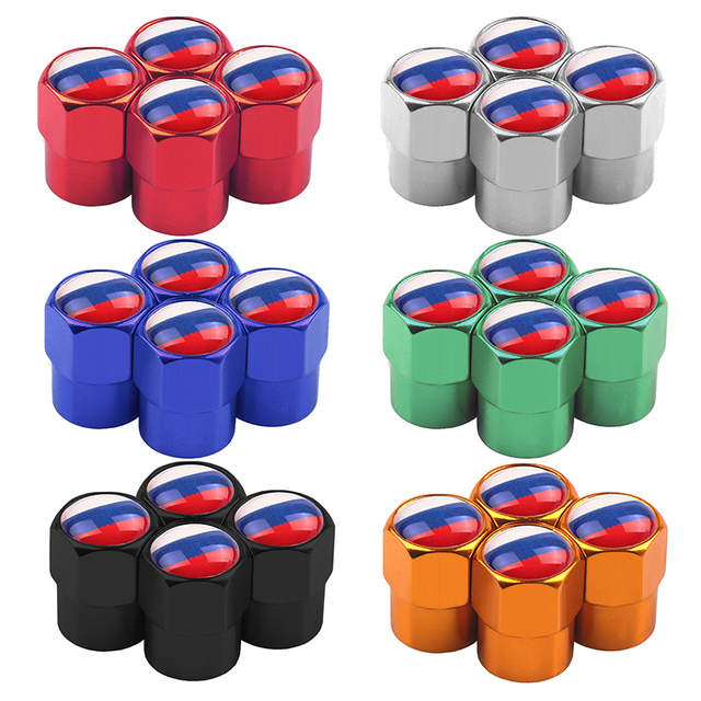 UK USA ITALY FRANCE GERMAN RUSSIA JAPAN National Flags Car Wheel Tires Valves Aluminum Tyre Stem Air Caps Decorating Accessories 1