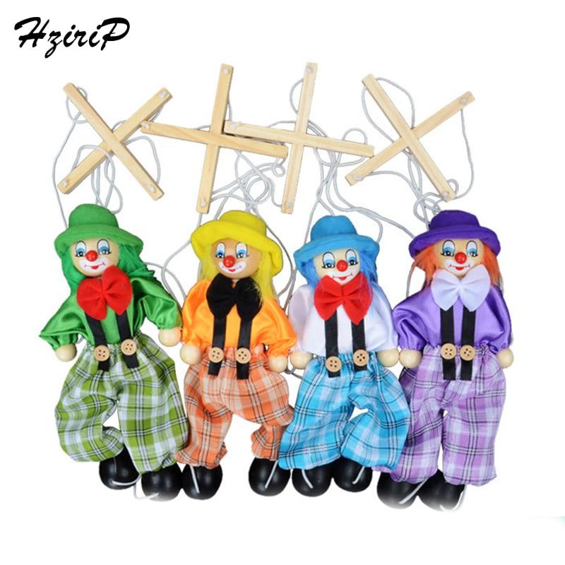 4 st / set 25cm Kids Classic Rolig Trä Clown Trä String Docka Vintage Gemensam Aktivitet Docka Leksaker Barn Söt Marionett