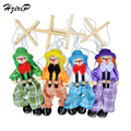 4 Pcs/set 25CM Kids Classic Funny Wooden Clown Pull String Puppet Vintage Joint Activity Doll Toys Children Cute Marionette