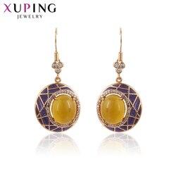 Biżuteria Xuping Luxury European Style złoty kolorowy platerowany kolczyki dla kobiet ślubne prezenty na święto dziękczynienia 91095
