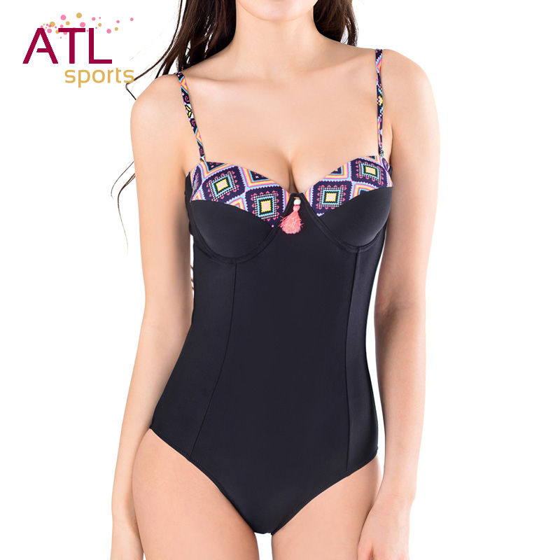 2016 Black Retro Bathing Suit One Piece Swimsuit Solid Women Swimwear Female Sexy Summer Beach Wear Push Up One-piece Suits women one piece triangle swimsuit cover up sexy v neck strappy swimwear dot dress pleated skirt large size bathing suit 2017