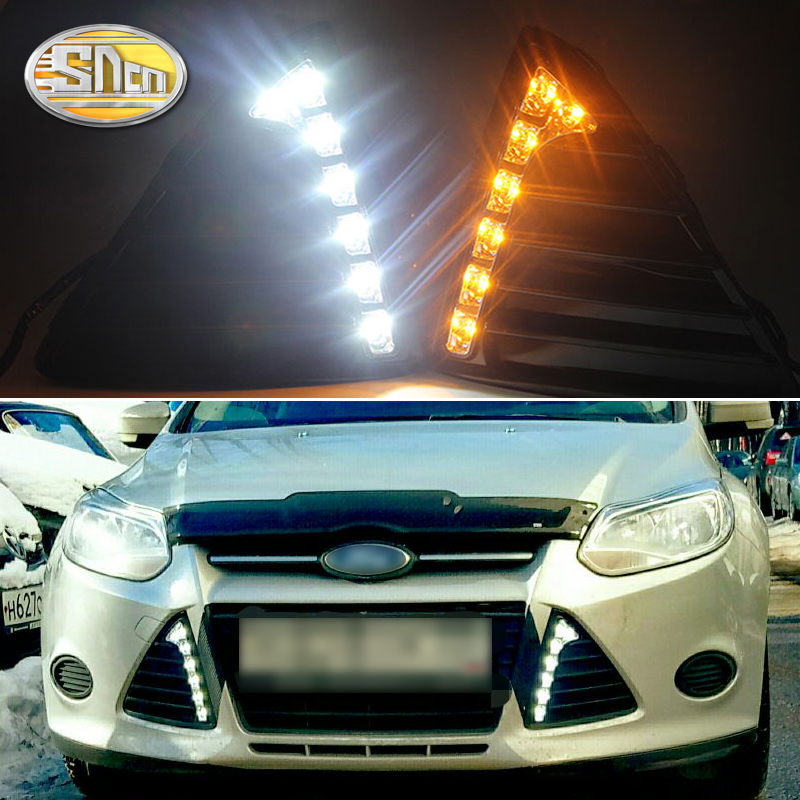 For <font><b>Ford</b></font> <font><b>Focus</b></font> 3 <font><b>MK3</b></font> 2012 2013 2014 DRL Daytime Running Lights 12V <font><b>LED</b></font> Daylight Fog lamp waterproof with dimming style Relay image