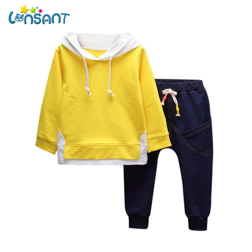 LONSANT Fashion Autumn Winter Kids Clothes Set Long Sleeve Print Hooded T-shirt Tops + Pants Boys Girls Clothes Set Dropshipping autumn winter toddler kids baby boys clothes striped hooded t shirt tops pants 2pcs outfit set 0 3y