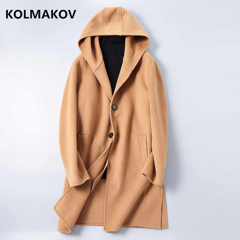 2019 New Double-faced Woolen Coats Men's Cashmere Overcoat Autumn Winter Casual Wool Fabric Men Dress Hooded Jackets Plus Size